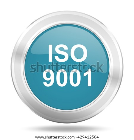 iso 9001 icon, blue round metallic glossy button, web and mobile app design illustration - stock photo