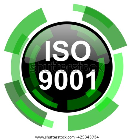 iso 9001 icon, green modern design glossy round button, web and mobile app design illustration - stock photo