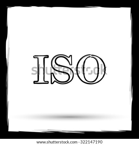 ISO icon. Internet button on white background. Outline design imitating paintbrush.