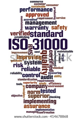 ISO 31000 - Risk management, word cloud concept on white background. - stock photo