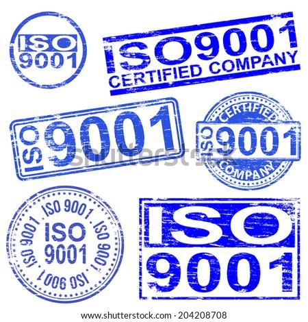 ISO 9001 rubber stamp symbols  - stock photo