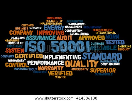 ISO 50001, word cloud concept on black background.