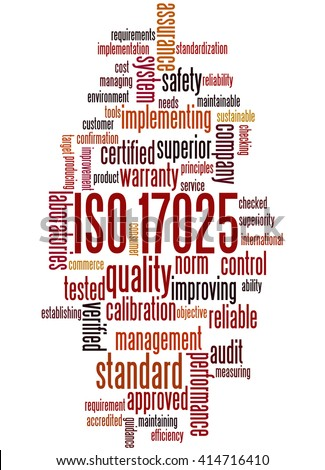 ISO 17025, word cloud concept on white background.