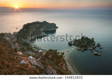 Isola bella at sunrise in Taormina, Sicily
