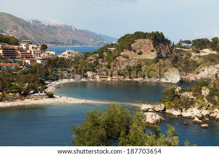 Isola Bella beach near Taormina, Sicily, Italy.