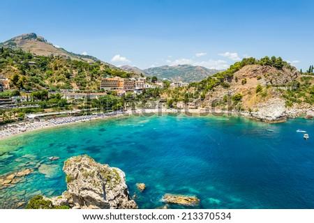 Isola Bella rocky island in Taormina, Sicily - stock photo