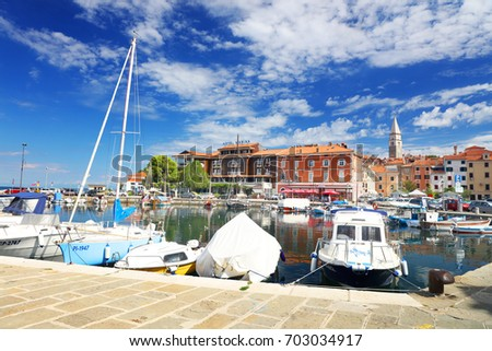 ISOLA, SLOVENIA - AUGUST 14, 2017: Boats in the Isola marina resort, Slovenia, Europe