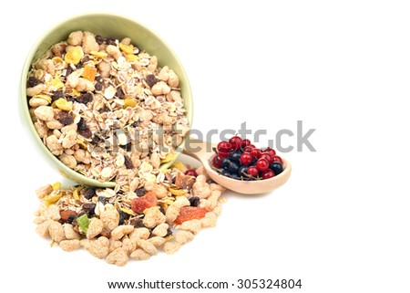 isolate a bowl of muesli - stock photo