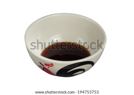 Isolate a bowl of oyster sauce on the white background