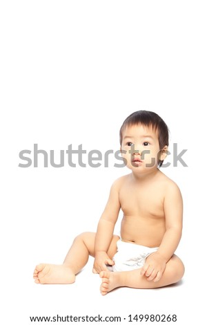 isolate asian baby sitting  on white background - stock photo