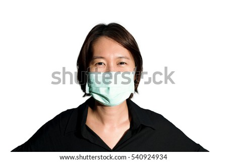 Isolate Asian woman in the black shirt waring the mask