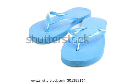 isolate, blue beach flip flops