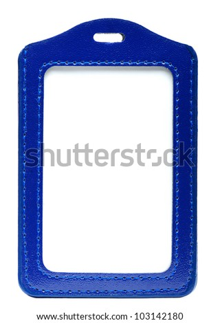 Isolate Blue Leather Name Tag - stock photo