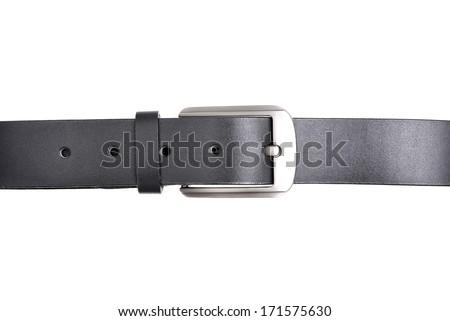 isolate classic black leather belt on white background - stock photo