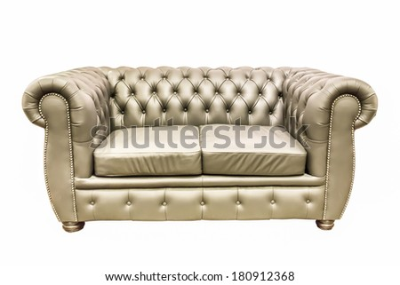 isolate double seat leather sofa on white background - stock photo