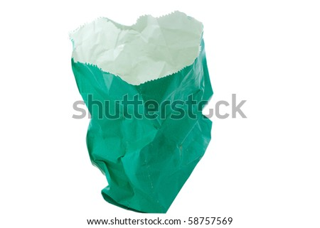 Isolate green empty paper bag
