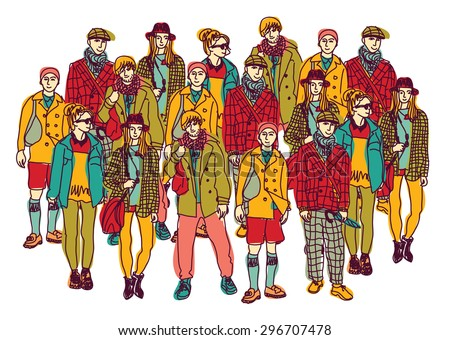 Isolate group young fashion people. Big group of happy people isolated on white. Color vector illustration. - stock photo