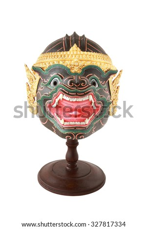 Isolate Khon mask on white background, thailand art head of human from Ramayana Story