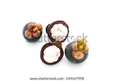 isolate mangosteen on white background, the tropical purple fruit in Thailand.