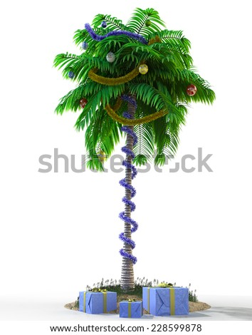 Isolate New Year palm tree with decoration concept holiday element - stock photo