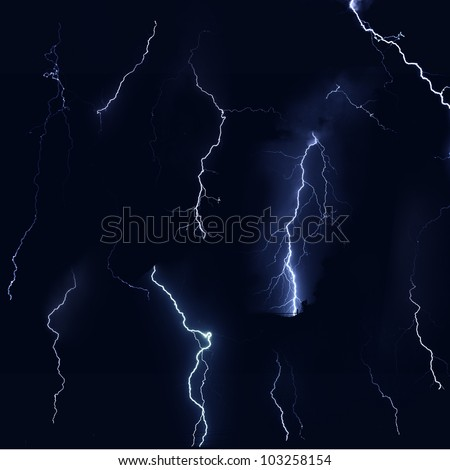 Isolate of thunder bolt on black background - stock photo