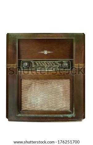 isolate old vintage radio on white background - stock photo