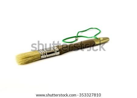 Isolate paint brushes on white background - stock photo
