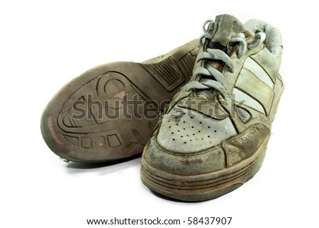 Isolate Pair of Old Shoes - stock photo