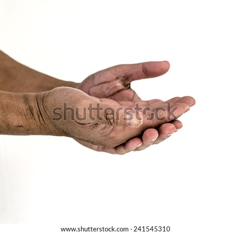 Isolate photo of dirty man hands