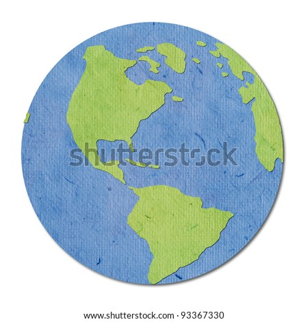 isolate recycled paper earth on white background - stock photo