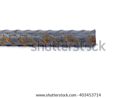 isolate round bar and rusty with the white background