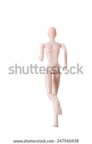 Isolate Running Pose Doll - stock photo