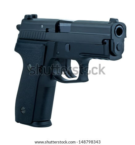 isolate semi automatic gun on white background