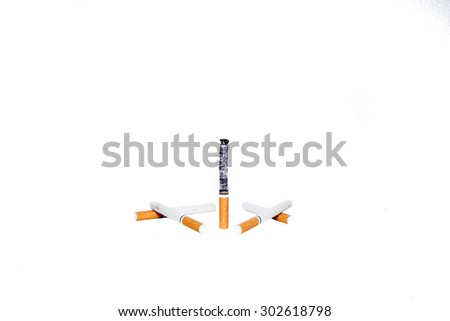 isolate set of cigarettes in white background. In set have new cigarettes and burn cigarette - stock photo