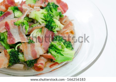 Isolate Stir Fried Broccoli with Bacon. closeup