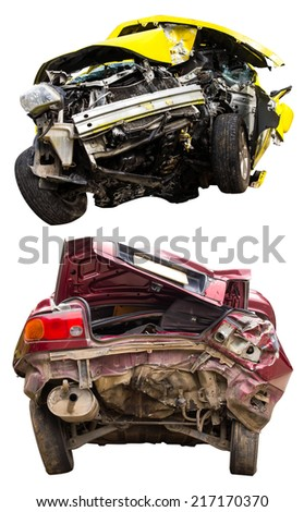 Isolate the front and rear of the car accident is different. - stock photo
