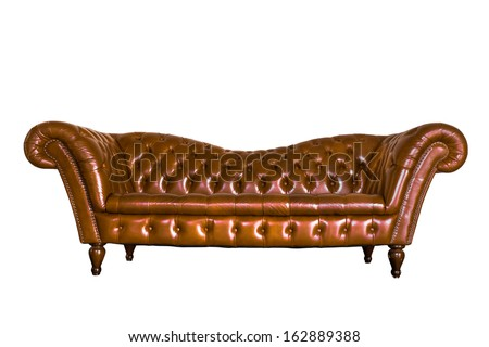 isolate vintage leather sofa on white background - stock photo