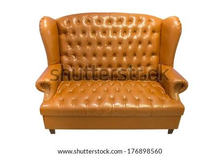 Isolate vintage leather sofa on white background - stock photo