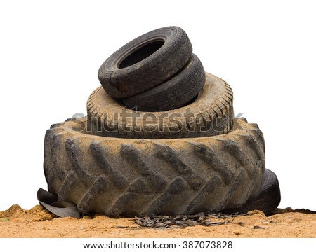 Isolate wheel, tire size used in agriculture and automobile placed the overlap to be recycled. - stock photo