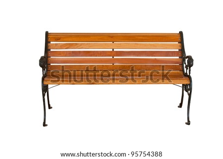 Isolate wooden bench - stock photo