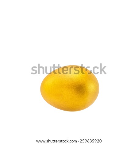 Isolated a golden egg: A golden egg opportunity concept of a fortune and a chance to be rich - stock photo