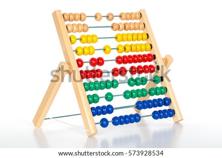 Isolated abacus counting frame on a white background.