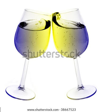Isolated abstract colored wine glass with wine over a white background