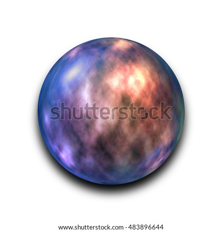 Isolated abstract nebula and galaxy in the glass ball on white background with clipping path