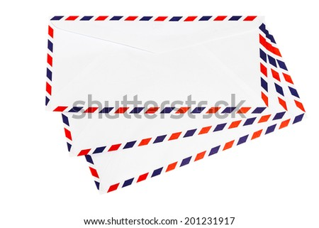 Isolated airmail envelope on white background