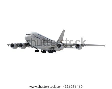 Isolated airplane - stock photo
