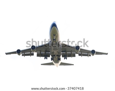 Isolated airplane - stock photo