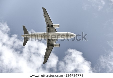Isolated airplane seen from below