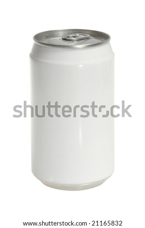 isolated Aluminum soda can with blank white label - stock photo