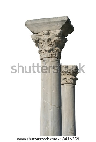 Isolated ancient columns - stock photo